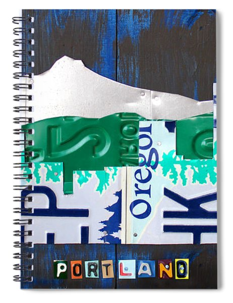 Portland Oregon Skyline License Plate Art Spiral Notebook