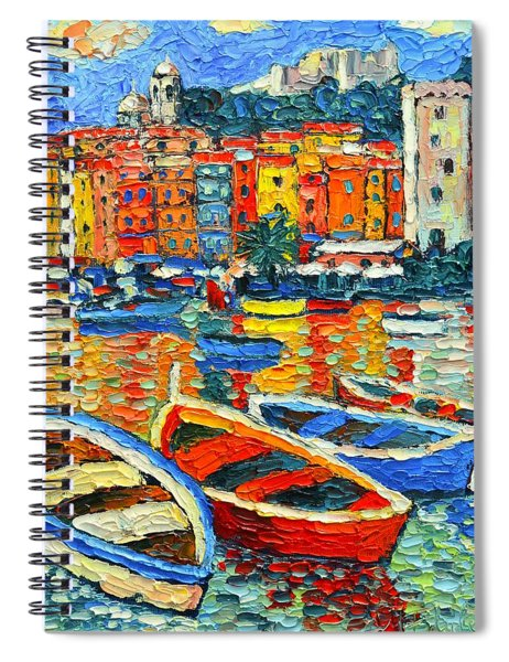 Portovenere Harbor - Italy - Ligurian Riviera - Colorful Boats And Reflections Spiral Notebook