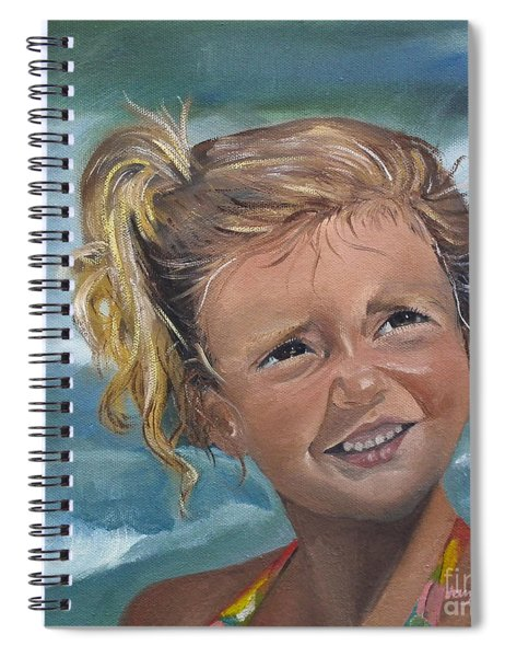 Spiral Notebook featuring the painting Portrait - Emma - Beach by Jan Dappen