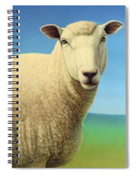 Spiral Notebook featuring the painting Portrait Of A Sheep by James W Johnson