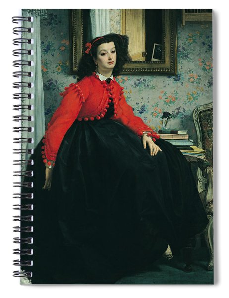 Young Lady In A Red Jacket Spiral Notebook