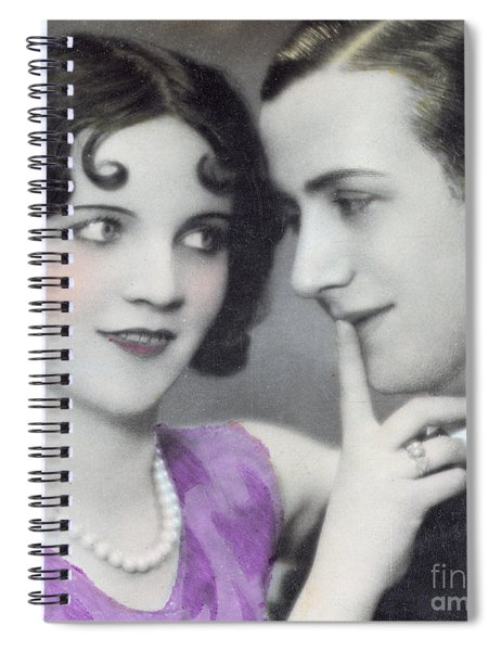 Postcard Depicting Two Lovers Spiral Notebook