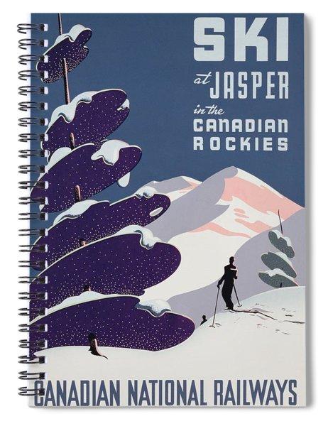 Poster Advertising The Canadian Ski Resort Jasper Spiral Notebook