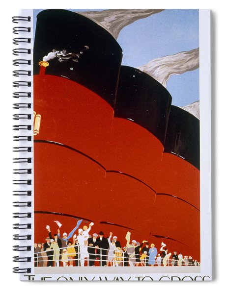 Poster Advertising The Rms Queen Mary Spiral Notebook