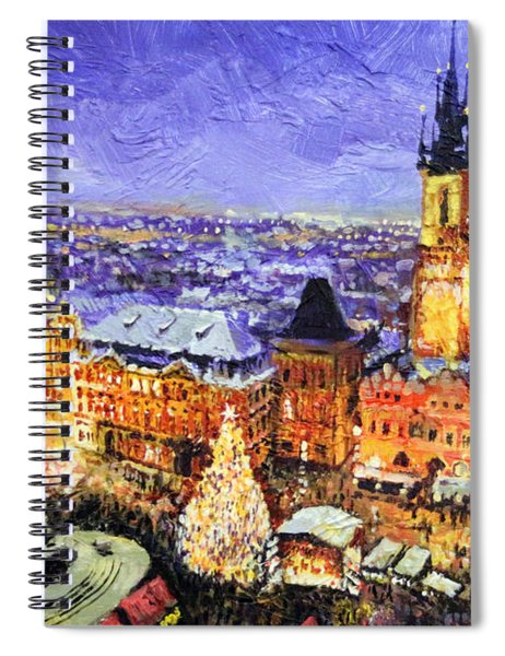 Prague Old Town Square Christmas Market Spiral Notebook