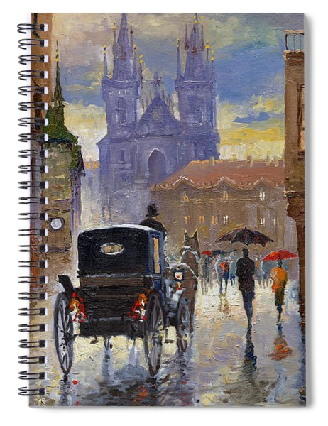 Prague Old Town Square Old Cab Spiral Notebook