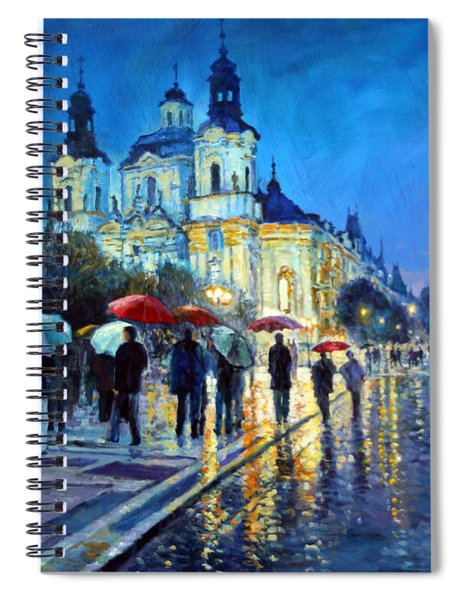 Prague Old Town Square  View Of Street Parizska And St.nicolas Church Spiral Notebook