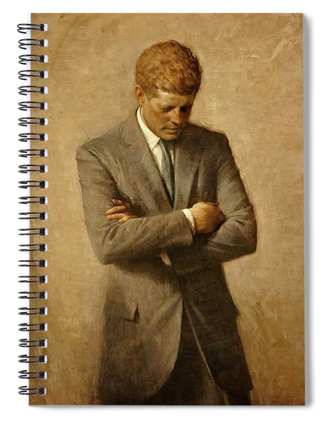 Spiral Notebook featuring the painting President John F. Kennedy Official Portrait By Aaron Shikler by Movie Poster Prints