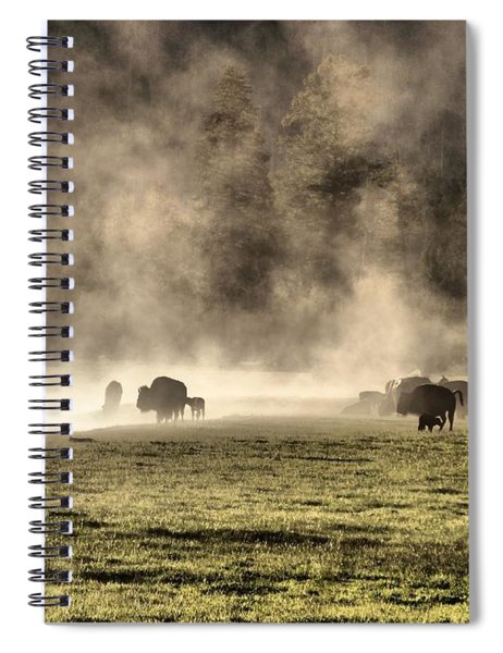 Buffalo Herd In Yellowstone Spiral Notebook