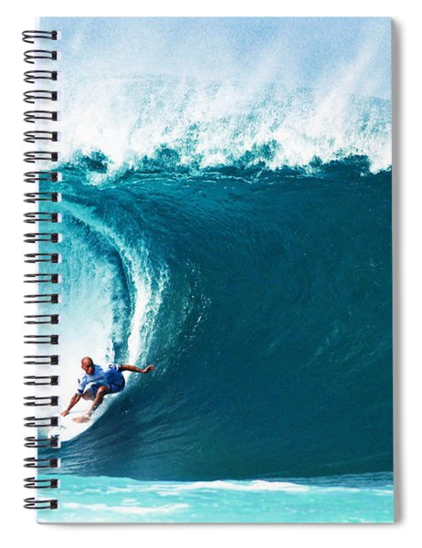 Pro Surfer Kelly Slater Surfing In The Pipeline Masters Contest Spiral Notebook