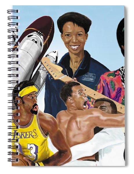 Jimi, Muhammad Ali, Wilt Chamberlain And Mae Carol Jemison Spiral Notebook