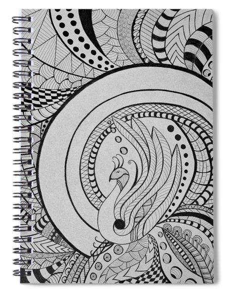 Zentangle Peacock Art Drawing Spiral Notebook