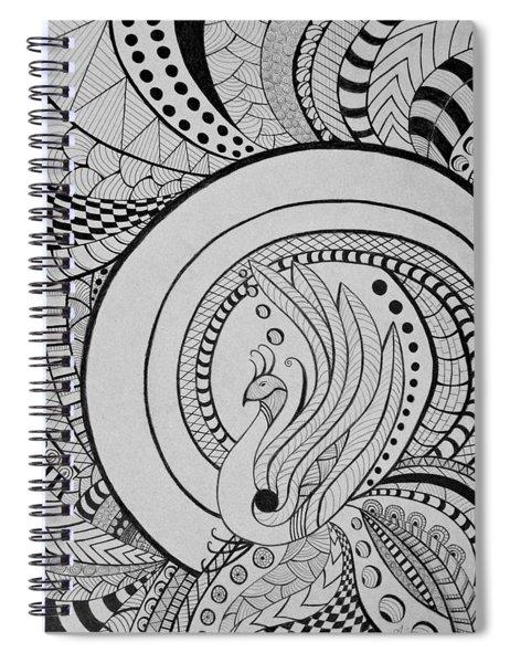 Zentangle Peacock Art, Pen Drawing, Feather Bird, Abstract Art Spiral Notebook