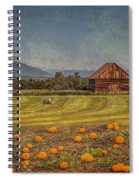 Spiral Notebook featuring the photograph Pumpkin Field Moon Shack by Patti Deters