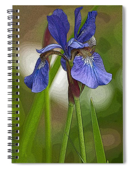 Purple Bearded Iris Watercolor With Pen Spiral Notebook