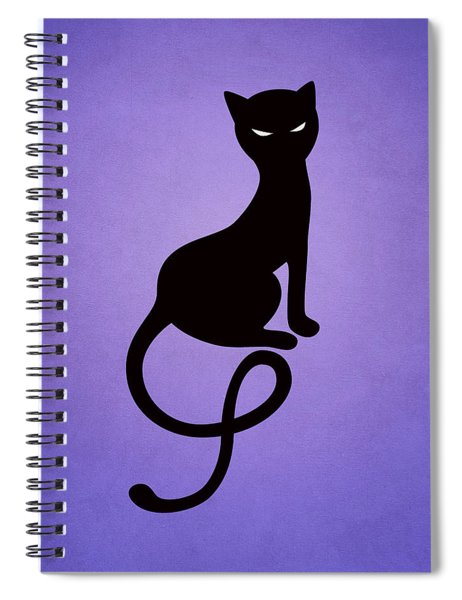 Purple Gracious Evil Black Cat Spiral Notebook