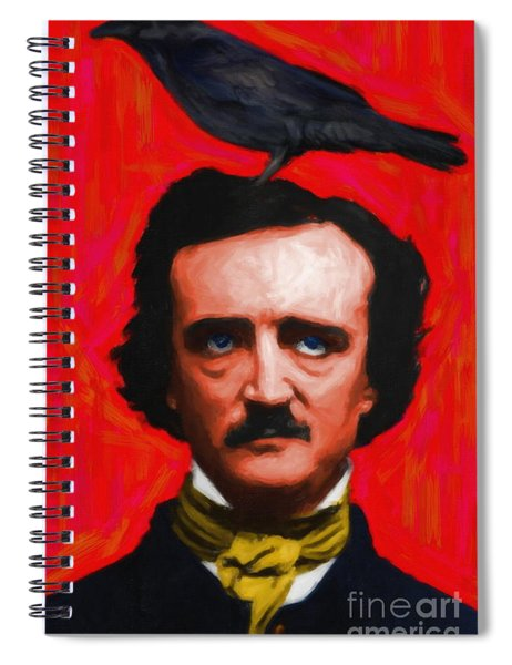 Quoth The Raven Nevermore - Edgar Allan Poe - Painterly - Red - Standard Size Spiral Notebook