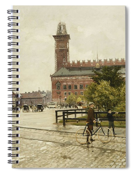 Raadhuspladsen, Copenhagen, 1893 Oil On Canvas Spiral Notebook