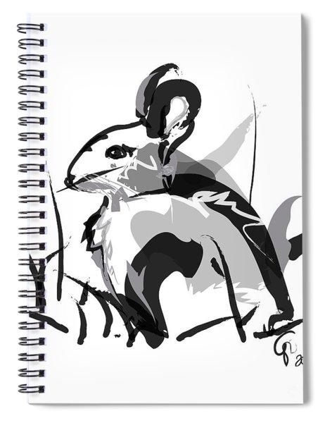 Rabbit Bunny Black White Grey Spiral Notebook