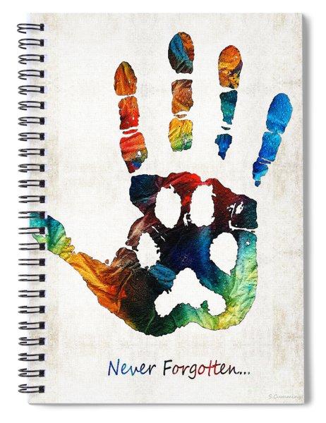 Rainbow Bridge Art - Never Forgotten - By Sharon Cummings Spiral Notebook