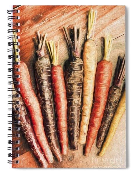 Rainbow Carrots. Vintage Cooking Illustration  Spiral Notebook