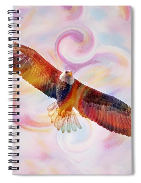 Rainbow Flying Eagle Watercolor Painting Spiral Notebook