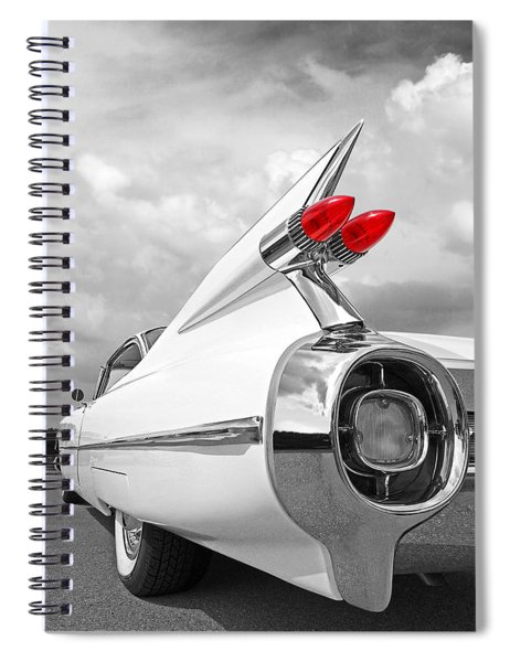 Reach For The Skies - 1959 Cadillac Tail Fins Black And White Spiral Notebook