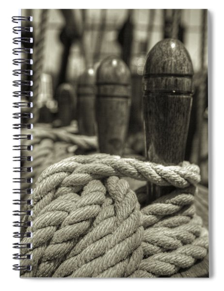 Ready For Work Black And White Sepia Spiral Notebook