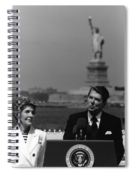 Reagan Speaking Before The Statue Of Liberty Spiral Notebook