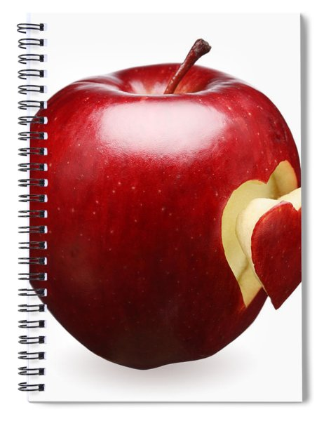 Red Apple With Heart Spiral Notebook