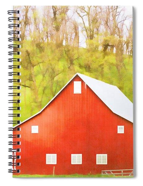 Red Barn Green Hillside Spiral Notebook