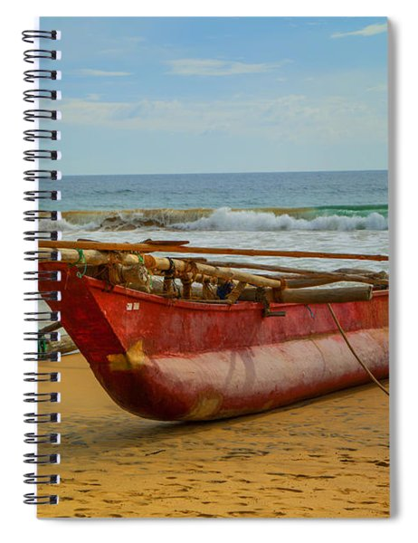 Red Catamaran At The Hikkaduwa Beach Spiral Notebook