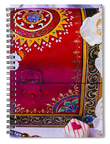 Red Chest And Butterfly Spiral Notebook