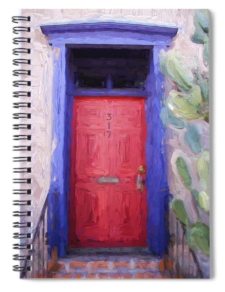 Red Door 317 Tucson Barrio Painterly Effect Spiral Notebook