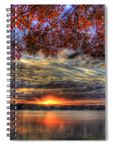 Good Bye Until Tomorrow Fall Leaves Sunset Lake Oconee Georgia Spiral Notebook