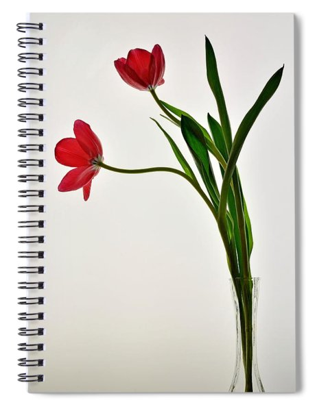 Red Flowers In Glass Vase Spiral Notebook