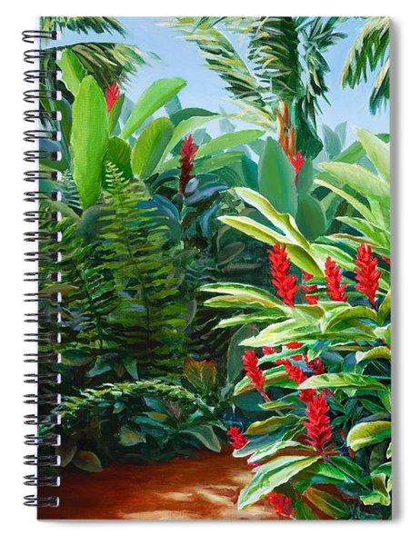 Tropical Jungle Landscape - Red Garden Hawaiian Torch Ginger Wall Art Spiral Notebook