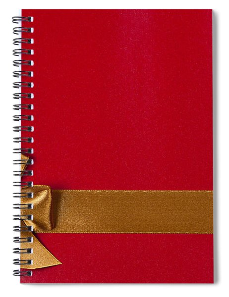 Red Gift Background With Gold Ribbon Spiral Notebook