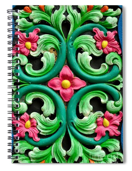 Red Green And Blue Floral Design Singapore Spiral Notebook
