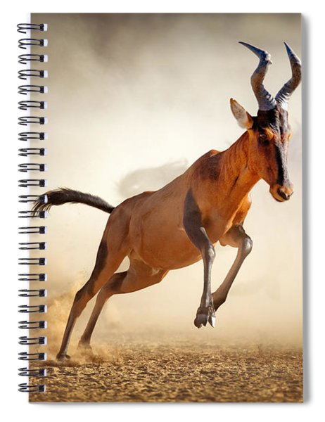 Red Hartebeest Running In Dust Spiral Notebook
