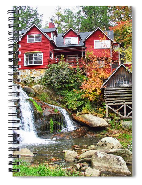 Red House By The Waterfall Spiral Notebook