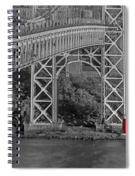 Red Lighthouse And Great Gray Bridge Bw Spiral Notebook