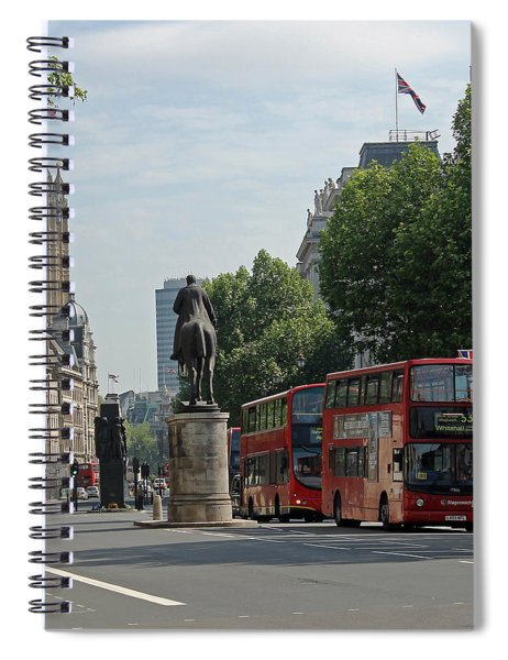 Red London Bus In Whitehall Spiral Notebook
