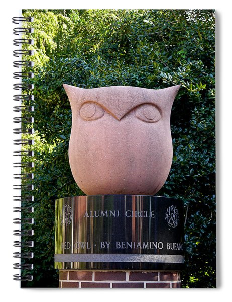 Red Owl At Temple Spiral Notebook