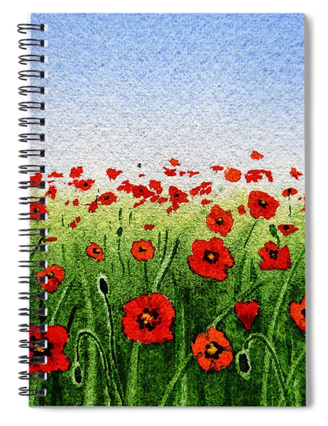 Red Poppies Green Field And A Blue Blue Sky Spiral Notebook