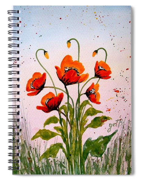 Red Poppies Original Watercolor  Spiral Notebook