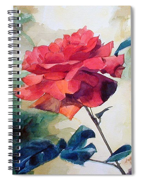 Watercolor Of A Single Red Rose On A Branch Spiral Notebook