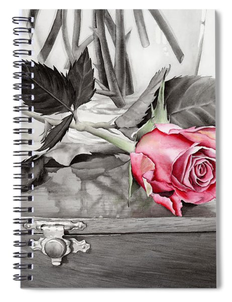 Red Rosebud On The Jewelry Box Spiral Notebook