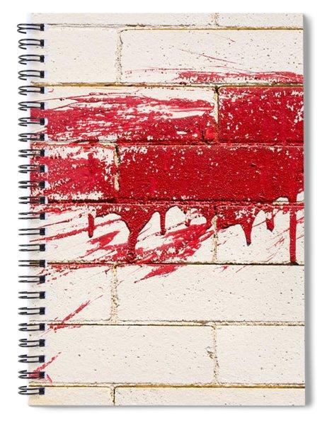 Red Splash On Brick Wall Spiral Notebook