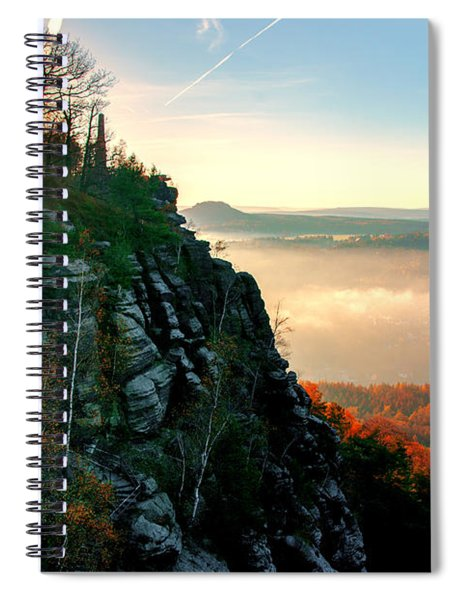 Red Sun Rays On The Lilienstein Spiral Notebook